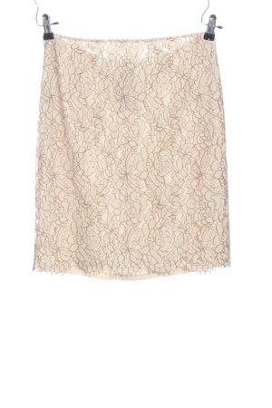 Comma Falda de encaje crema estampado repetido sobre toda la superficie elegante
