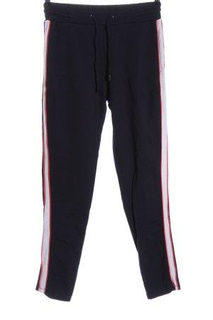 Comma Jersey Pants black striped pattern casual look