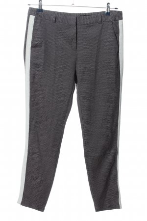 Comma Stoffhose hellgrau-weiß grafisches Muster Casual-Look
