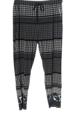 Comma Spodnie materiałowe czarny-biały Graficzny wzór W stylu casual