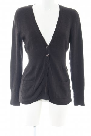 Comma Strick Cardigan schwarz-hellgrau meliert Casual-Look