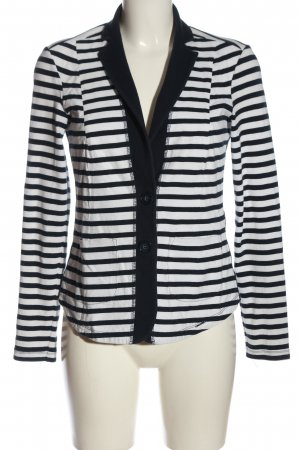 Comma Knitted Blazer white-black striped pattern casual look