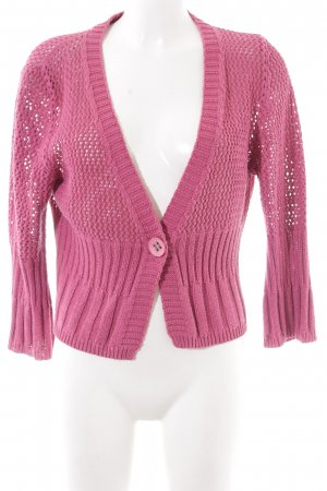 Comma Strickjacke pink Zopfmuster Casual-Look