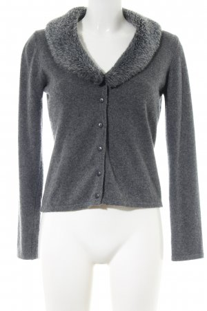 Comma Strickjacke hellgrau meliert Casual-Look