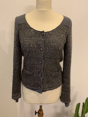 Comma Strickjacke mit Pailletten in grau