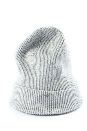 Comma Sombrero de punto gris claro estampado a rayas look casual