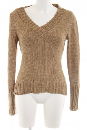 Comma Strickpullover braun-goldfarben meliert Casual-Look