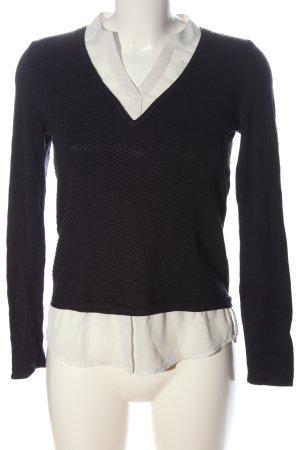 Comma Jersey de punto negro-blanco elegante