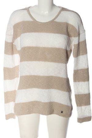 Comma Strickpullover creme-weiß Streifenmuster Casual-Look