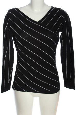 Comma Strickpullover schwarz-weiß Streifenmuster Casual-Look