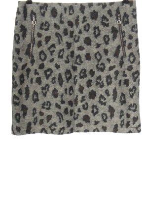 Comma Jupe tricotée gris clair-noir motif léopard style décontracté