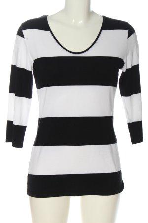 Comma Strickshirt weiß-schwarz Allover-Druck Casual-Look