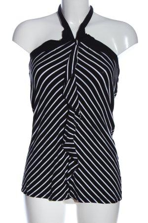Comma Stricktop schwarz-weiß Streifenmuster Casual-Look