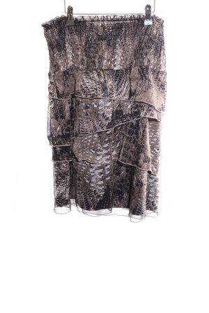 Comma Gelaagde rok brons-zwart abstract patroon casual uitstraling