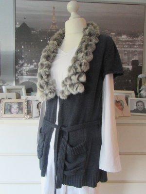 Comma Short Sleeve Knitted Jacket dark blue-light grey