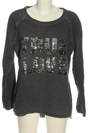 Comma Sweatshirt hellgrau Schriftzug gedruckt Casual-Look