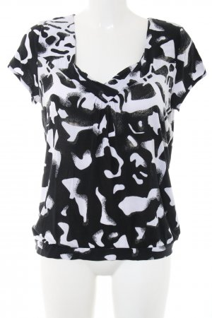 Comma T-Shirt schwarz-weiß Allover-Druck Business-Look