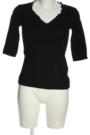 Comma Koszulka z dekoltem w kształcie litery V czarny W stylu casual