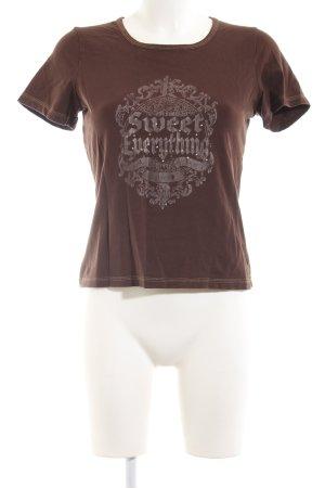 Comma T-Shirt braun Motivdruck Casual-Look