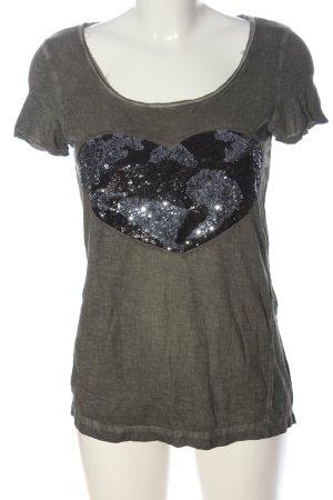 Comma T-Shirt khaki-schwarz Motivdruck Casual-Look