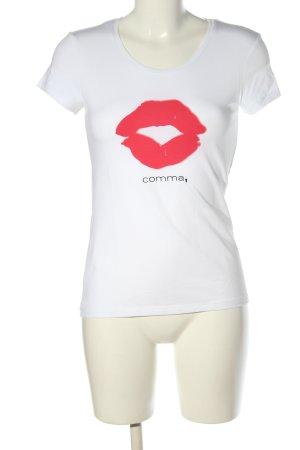 Comma T-Shirt weiß-rot Motivdruck Casual-Look