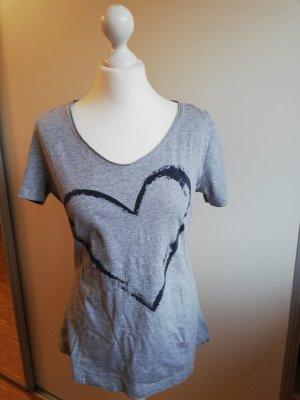Comma T-Shirt grau mit Herz, Größe 38