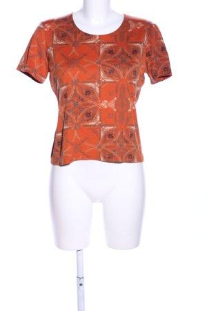 Comma T-Shirt hellgrau-hellorange Allover-Druck Casual-Look