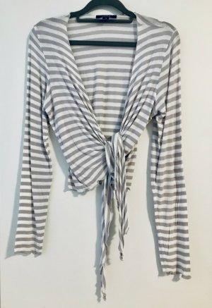 Comma T-Shirt Langarm/Cardigan zum Binden Gr. 38 grau-weiß-geringelt
