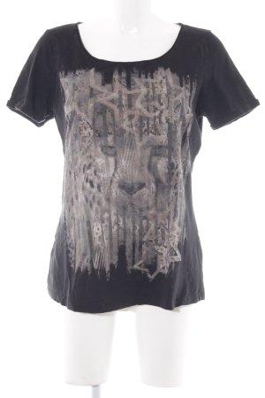 Comma T-Shirt schwarz Motivdruck Casual-Look