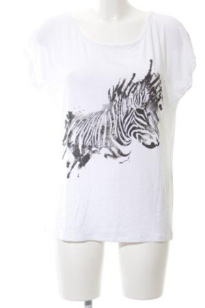 Comma T-Shirt weiß-schwarz abstraktes Muster Casual-Look