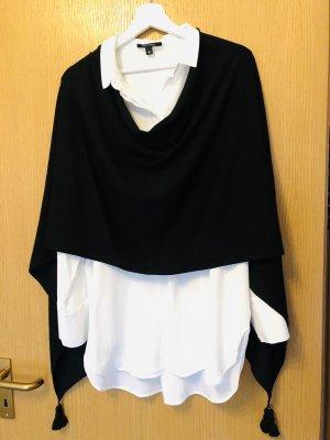Comma Poncho negro tejido mezclado