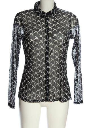 Comma Blusa transparente negro-blanco elegante