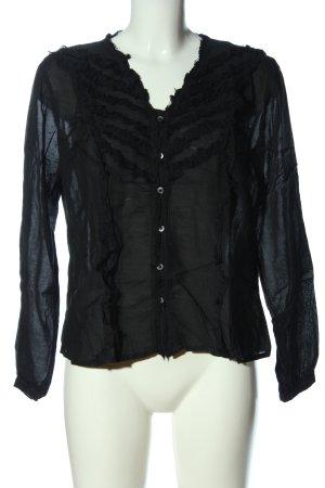 Comma Transparenz-Bluse schwarz Casual-Look
