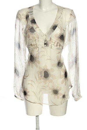Comma Transparenz-Bluse wollweiß-schwarz Blumenmuster Casual-Look