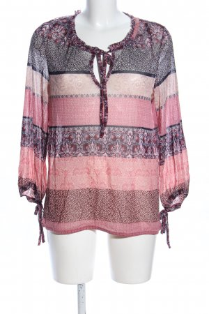 Comma Transparenz-Bluse pink-hellgrau Allover-Druck Casual-Look