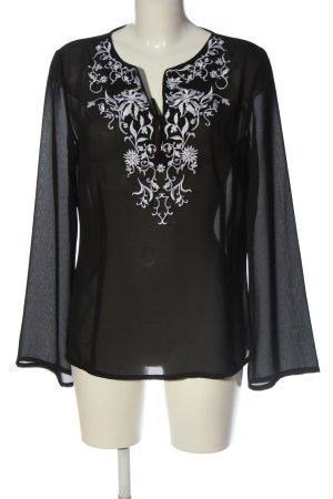 Comma Transparenz-Bluse schwarz Blumenmuster Casual-Look