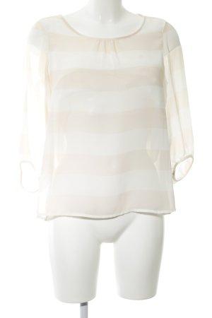 Comma Transparenz-Bluse creme-weiß Streifenmuster Business-Look