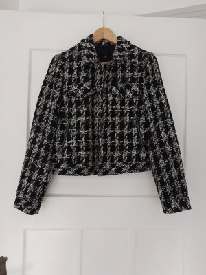 Comma Blazer Tweed blanco-negro