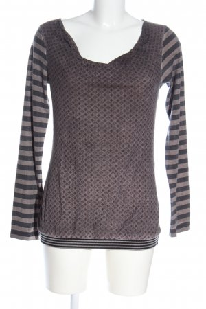 Comma Boatneck Shirt light grey-brown allover print casual look