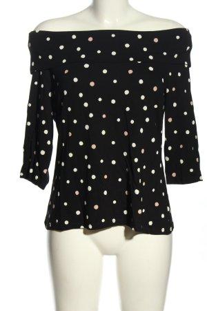 Comma Camisa tipo Carmen negro-blanco estampado a lunares look casual
