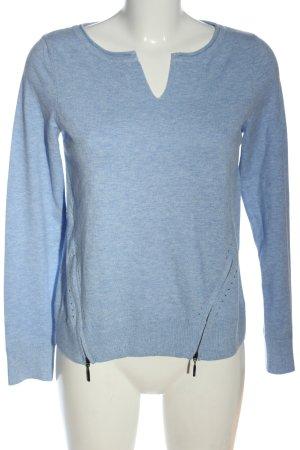 Comma V-Ausschnitt-Pullover blau meliert Casual-Look