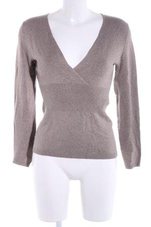 Comma V-Ausschnitt-Pullover braun meliert Business-Look