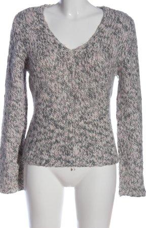 Comma V-Ausschnitt-Pullover hellgrau-pink Casual-Look