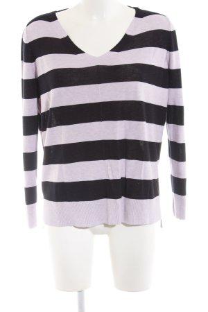Comma V-Ausschnitt-Pullover schwarz-lila Streifenmuster Casual-Look