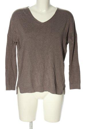 Comma V-Ausschnitt-Pullover braun meliert Casual-Look