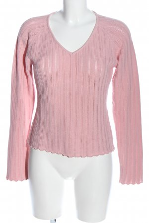 Comma V-Neck Sweater pink striped pattern casual look