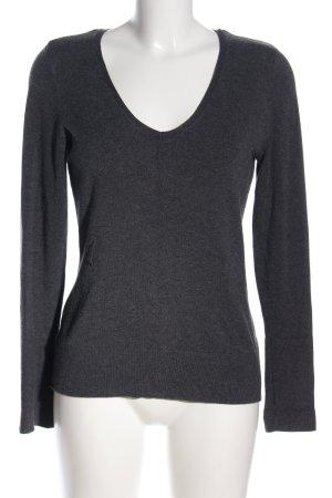 Comma V-Ausschnitt-Pullover hellgrau meliert Casual-Look
