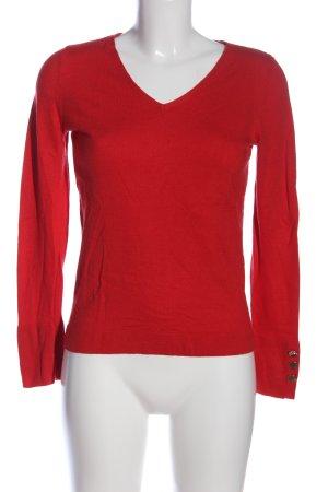 Comma V-Ausschnitt-Pullover rot Casual-Look