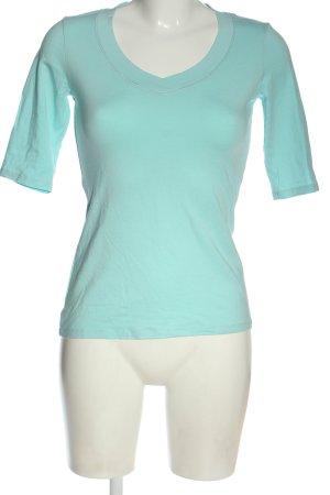 Comma Koszulka z dekoltem w kształcie litery V turkusowy Elegancki