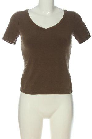 Comma V-Ausschnitt-Shirt braun Casual-Look